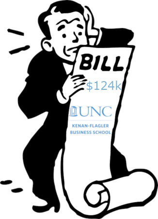 Guy holding large tuition bill from UNC Kenan Flagler
